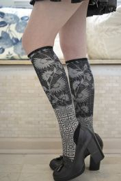 Colorful Flowers Compression Socks For Women 3D Print Knee High Boot