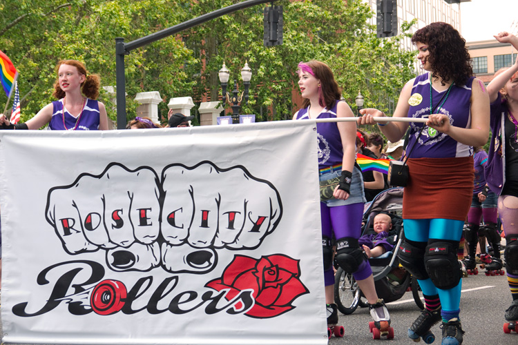 This year with marched with the Rose City Rollers, our local roller derby team. We love RCR! (Shot by Dreamer Brenna)