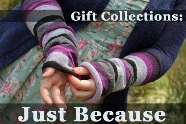 image of a person adjusting purple and grey arm sleeves, text over image reads Gift Collections: Just Because