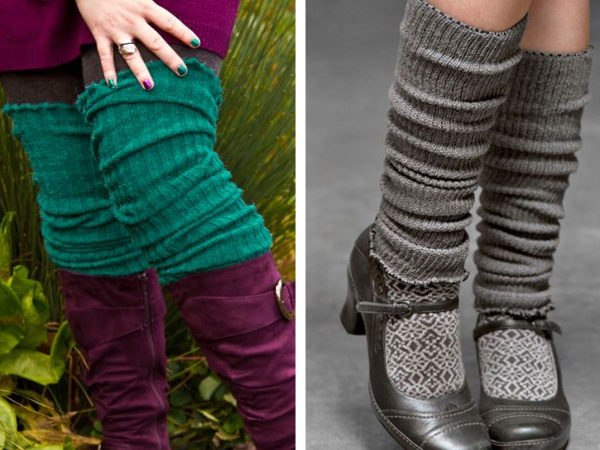 split image showing two kinds of leg warmers, one teal pair that is soft looking and thigh high, one grey pair that is scrunched up below the knee