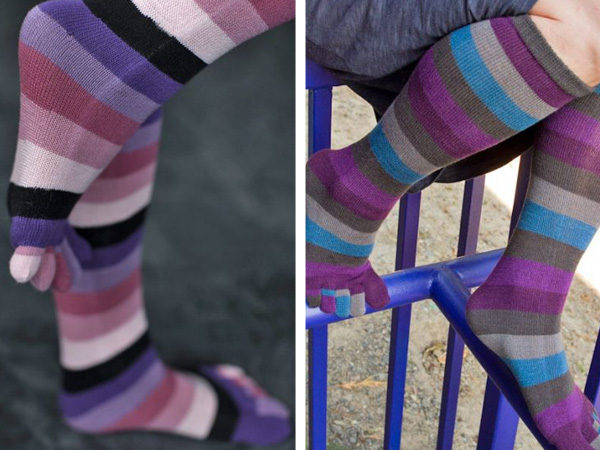 split image showing two colorways of striped toe socks