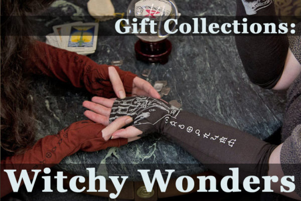 image of a person wearing arm warmers reading the palm of another person wearing arm warmers with fortune-telling lines printed on them, text over image reads Gift Collections: Witchy Wonders