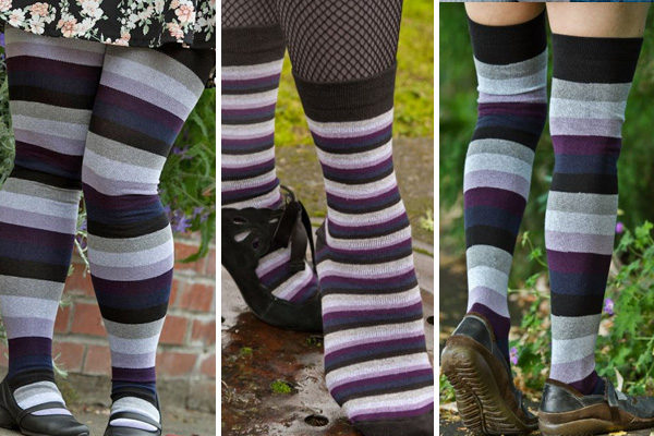 a series of three images showing different heights of a sock striped in purples and greys, from left to right are thigh high socks, crew socks and over the knee socks