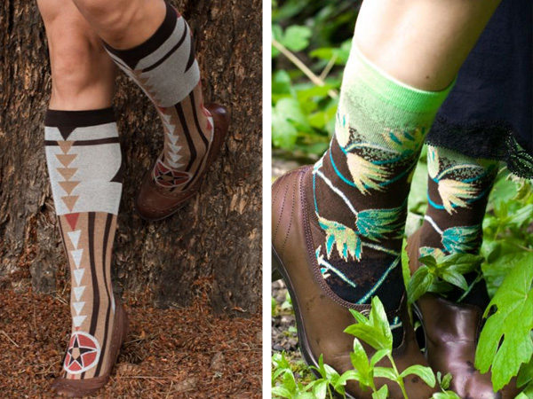 split image showing two earth element styles. On the left an over the calf sock in browns with grounding triangle imagery, on the right is a crew sock with green leaves and vines overtaking the brown