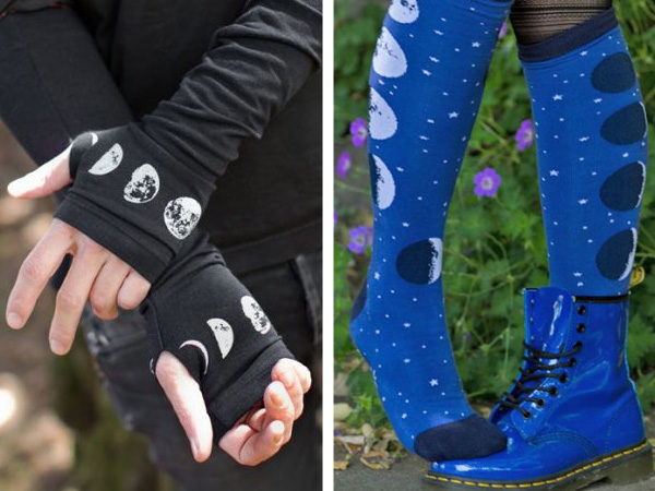 split image showing arm warmers on the left and knee high socks on the right, both depicting the phases of the moon