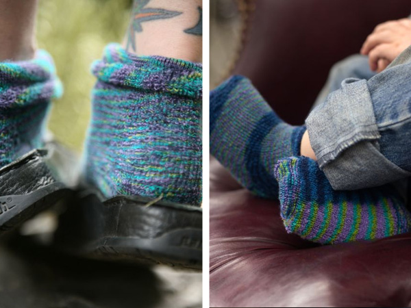 split image, on both sides are the same style of space dyed terry anklet in blues, teals and purples. On the left they're shown in an adult socks, on the right they're shown in toddler socks