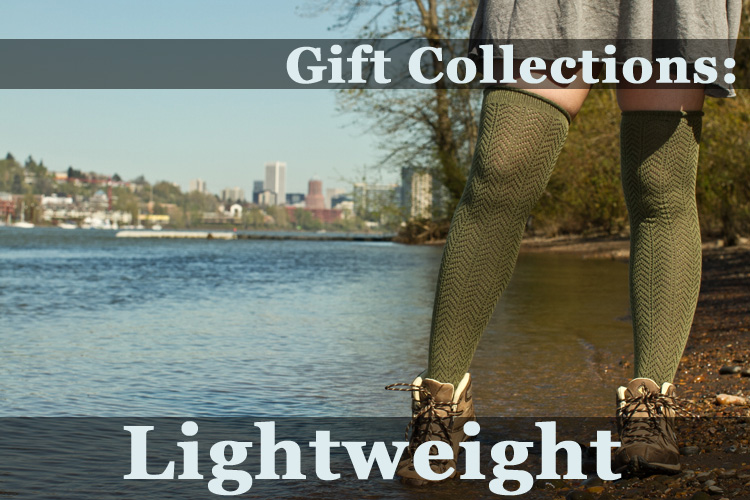 b62bf2ea378c1 A person wearing thigh high olive green socks standing next to a river on a  very