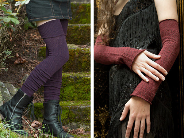 Split image: on left a person stands on mossy stone steps, the edges of the image touched by various greenery. They're wearing thigh high, thickly ribbed dark purple socks and mid calf black boots. On the right, a model is seen from shoulder to hip, wearing a fringed and sequined black dress. They're wearing burgundy textured sleeves that extend from wrist to above the elbow.