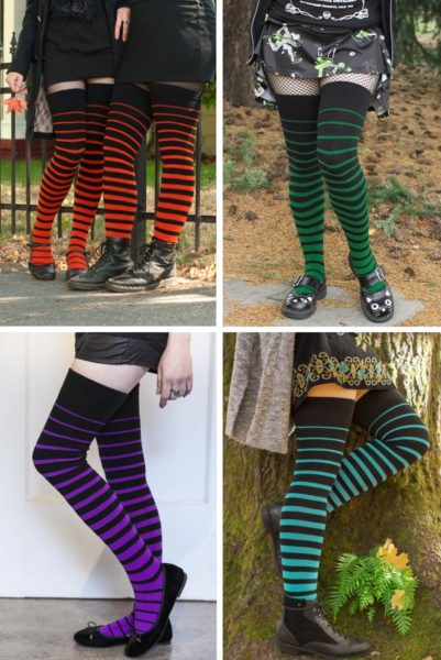 3df618838ea Four shots in a grid of our gradient striped thigh highs. All have a black
