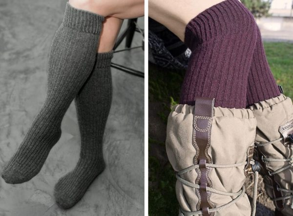 Two images side by side showing ribbed knee socks.