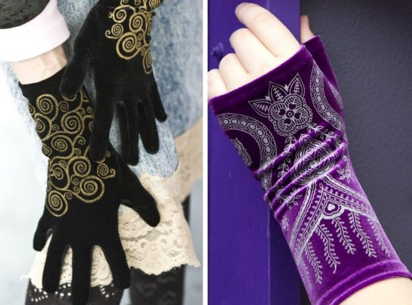 Two images side by side. Left shows black gloves with gold spirals on them. Right shows purple arm warmers with silver detailing.