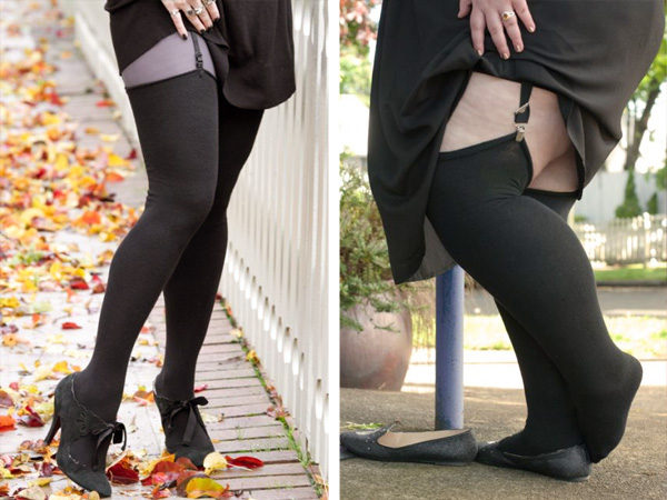 Split image of two models with very different body types wearing the same black thigh highs with roll-top cuffs. The model on the left has slim legs, and the socks reach their upper thigh. The model on the right has wider legs, and the socks hit a few inches above their knees.