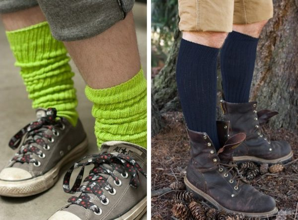 Two images side by side. On the left, model is facing the camera at a ¾ angle, shot from the calf down, wearing lime green scrunched down in grey sneakers. On the right, a model is facing to the side, posing outside with a tree behind them and pinecones around their feet, shot from the thighs down, wearing navy knee highs in brown boots.