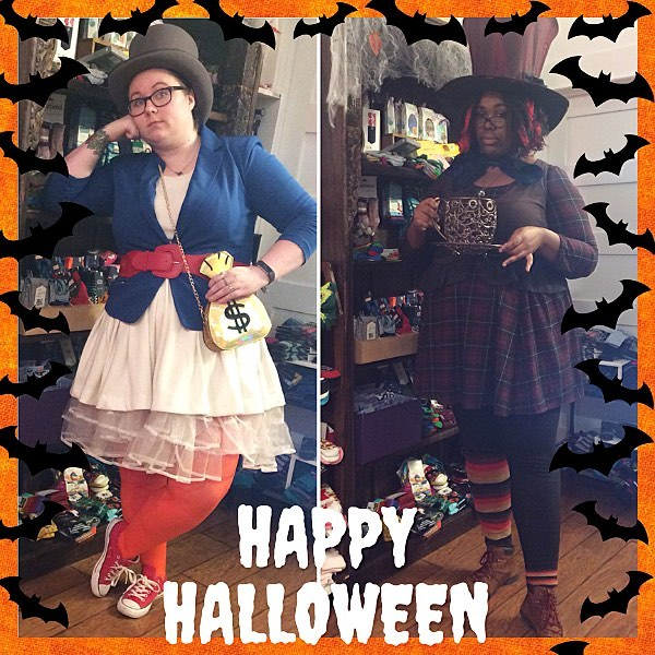 Split shot of two people in Halloween costumes; on a left, a Scrooge McDuck done with a white skirt and red tights, and on the right a Mad Hatter with mismatched socks.