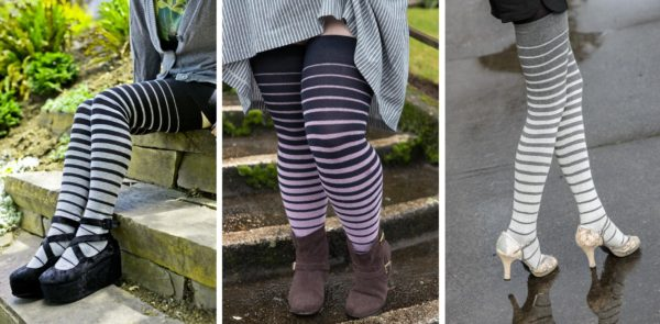Three images side by side of thigh high socks that use stripes of varying widths to create a gradient up the lef. On the left: the socks go from grey to black. In the midde: the socks go from lilac to navy. On the right: the socks go from cream to grey.