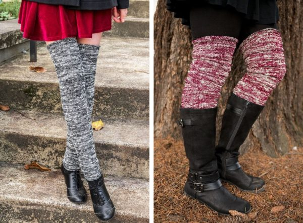 Two images side by side. On the left, a person is wearing long leg warmers made with marled cream and black yarn. On the right a person is wearing the same leg warmers in burgundy and cream marled.