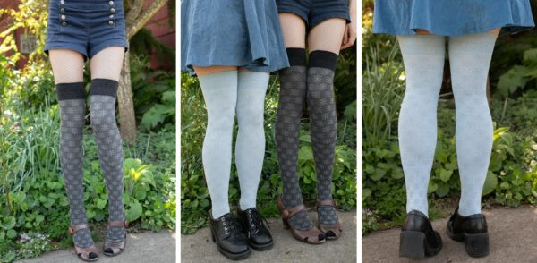 Three images side by side of models wearing over the knee socks with knitted starburst floral designs. In the left and middle image one person is wearing charcoal socks, and on the right and middle image a person is wearing light blue socks.