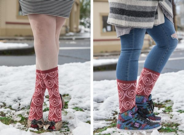 Two images side by side of people wearing pink and burgundy socks with concentric circle designs that look a bit like peacock feathers.