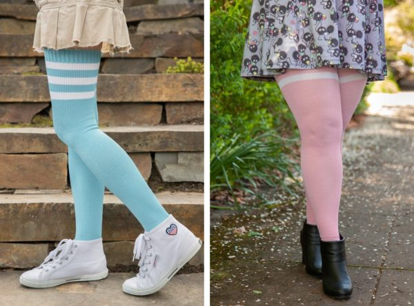 Two images side by side, of people wearing thigh high socks with three stripes at the top. Socks on the left are light blue with white stripes, and socks on the right are light pink with white stripes.