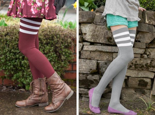 Two images side by side, of people wearing thigh high socks with three stripes at the top. Socks on the left are burgundy with white stripes, and socks on the right are grey with white stripes.
