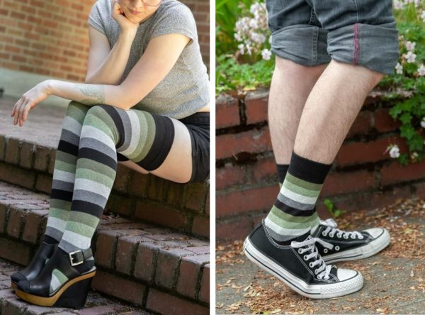 Two images side by side of models wearing socks striped in blacks, greens, and greys. On the left the socks are thigh high length, and on the right the socks are crew length.