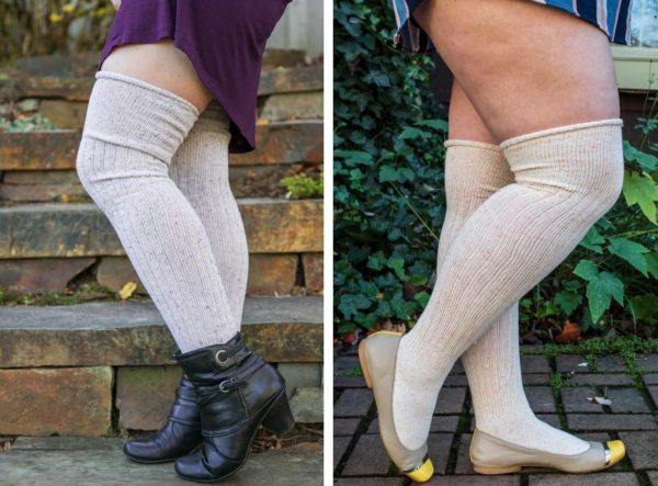 Two images side by side, of people wearing over the knee socks with a delicate confetti-like pattern. Socks on the left are lavender based, and socks on the right are light orange based.