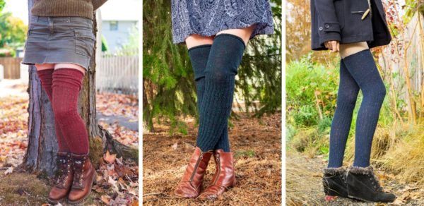 Three images side by side, of people wearing over the knee socks with a delicate confetti-like pattern. Socks on the left are dark red based, socks in the middle are dark teal based, and socks on the right are dark blue based.