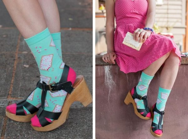 Two shots side by side of a person wearing crew socks that are bright blue with Pop Tarts-style toaster pastries on them.