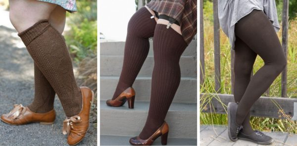 Three shots side by side of brown, chocolate-y socks. On the left a person is wearing knee highs with a diamond texture, in the middle a person is wearing ribbed thigh highs, and on the right a person is wearing cotton tights.