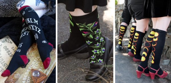Three images side by side. On the left someone is wearing black knee highs with a Ouija board printed on them. In the middle a model is wearing black crew socks with belladonna flowers and leaves on them. On the right three models are lined up, all wearing black knee highs with the phases of an eclipse down the back.