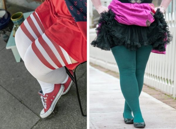 Two one size items, the Americanas and the Extraordinarily Longer Thigh Highs, pictured side by side. On the left, the Americanas are white thigh highs with red top stripes. On the right, the Extraordinarily Longer Thigh Highs are teal.
